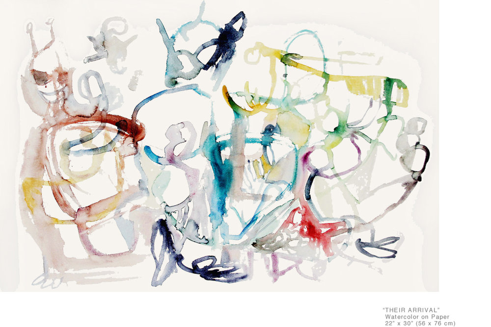 TheirArrival_WatercolorOnPaper_22x30inches_JoeGinsberg_Well-knownArtistInNYC_001.jpg