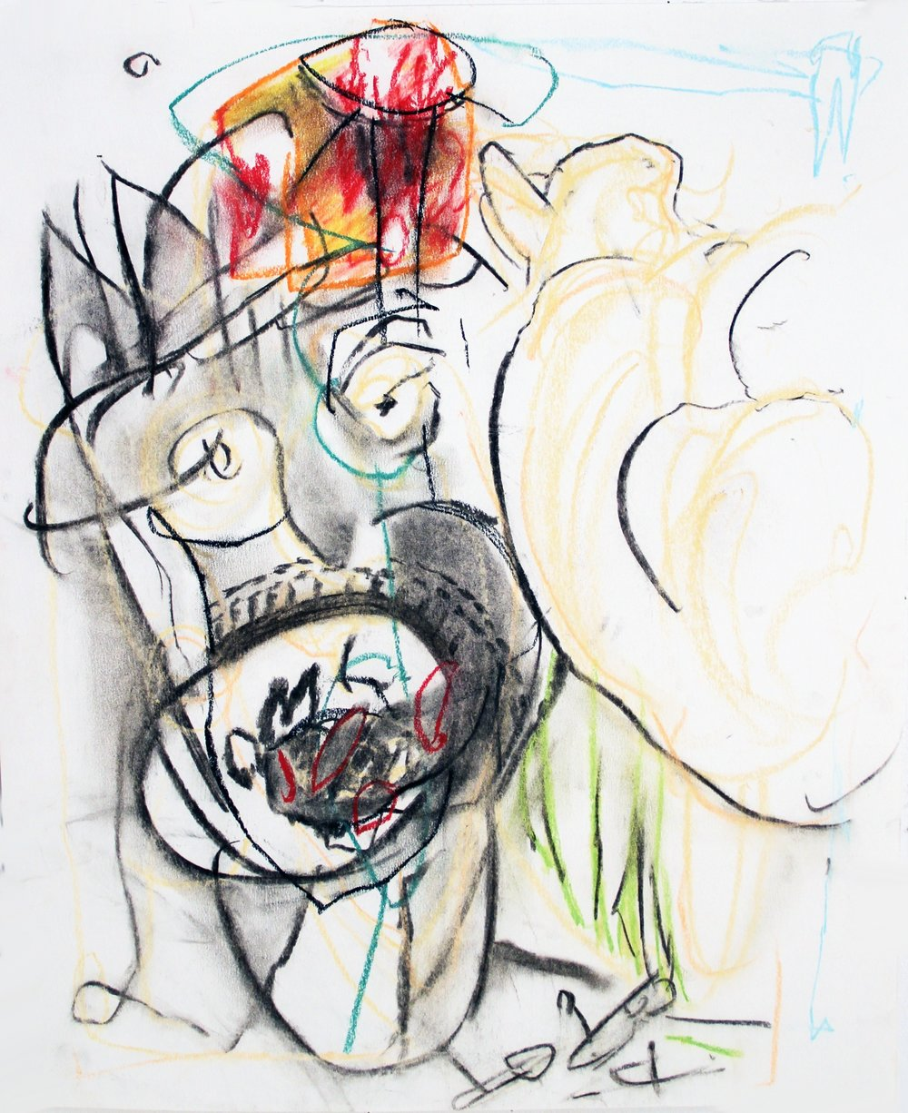 COLD TURKEY  Mixed Media on Paper 17 x 14 inches (43 x 36 cm)