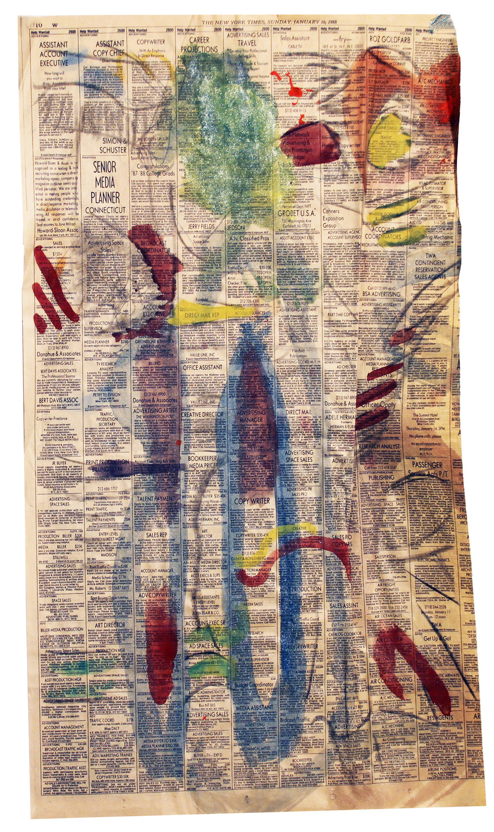 YOU GOT IT  Mixed Media on Newspaper 22 x 12 cm (56 x 30 cm)