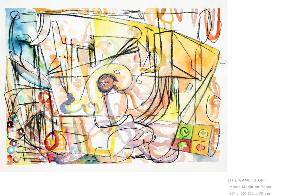 TheGameIsOn_MixedMediaOnPaper23 x 30 inches - Joe Ginsberg_ArtCollections.jpg