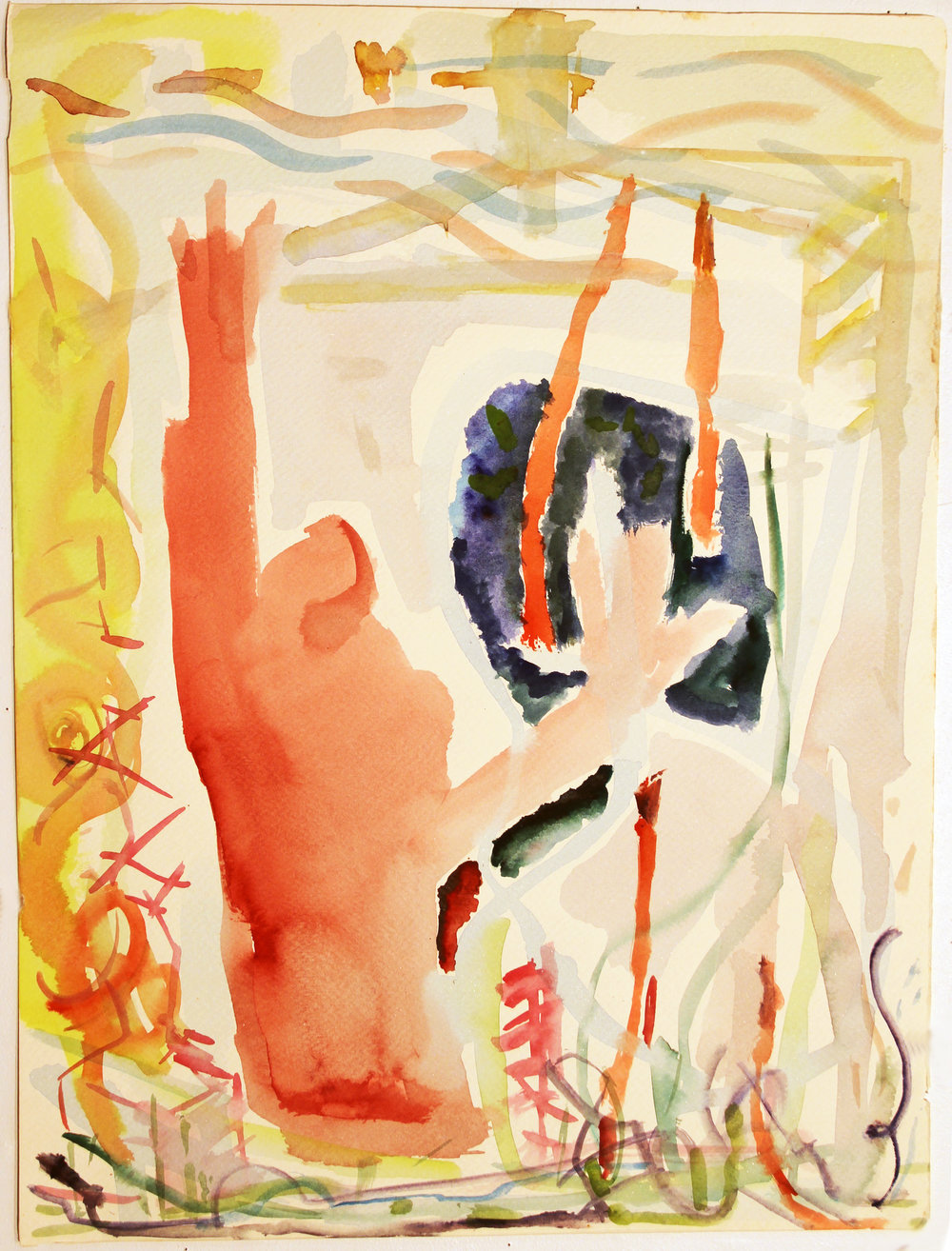 TAKE MY HAND Watercolor on Paper 20 x 15 inches (51 x 38 cm)