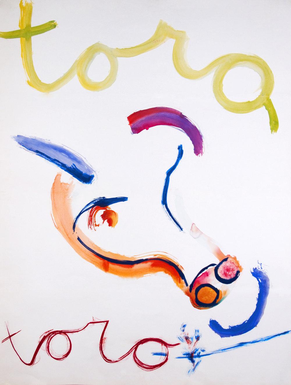 TORO TORO Watercolor on Paper 46 x 35 inches (117 x 89 cm)