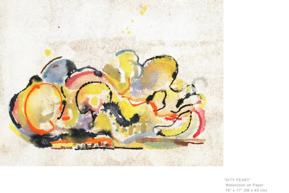 CityFeastWatercoloronPaper15x17inches- Joe Ginsberg_ArtistsToCollectInNewYork.jpg
