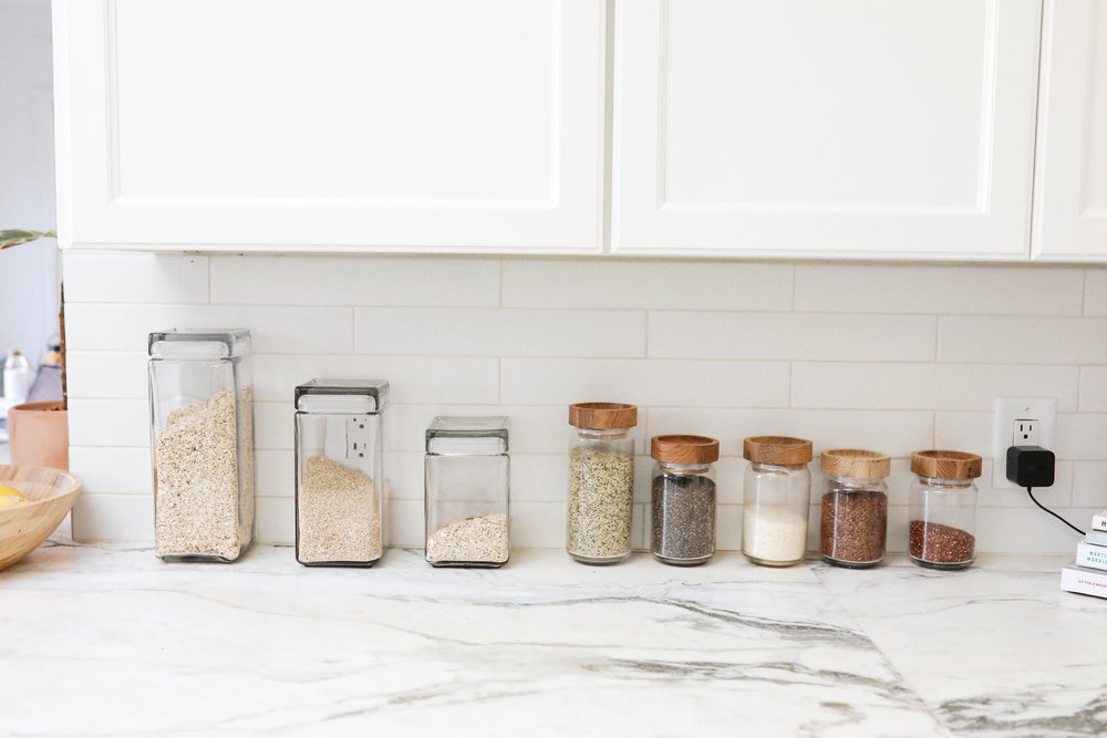 Products Used:  Artisan Glass Canisters with Oak Lids ,  Anchor Hocking Stackable Square Glass Containers