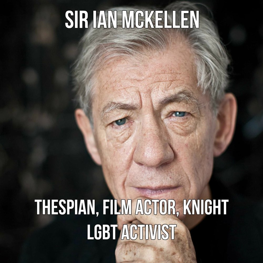 Sir Ian McKellen has appeared in over 50 films since his 1969 feature debut. Best known for roles like Gandalf in The Lord of the Rings Trilogy, Iago and Macbeth in Shakespearean stage dramas such as Othello and Macbeth, Sir Ian came out to the public in 1988 and has been an active LGBT activist ever since. He is the recipient of a whopping six Laurence Olivier Awards, a Tony, a Golden Globe, a SAG Award, a BIF Award, and two Academy Award nominations. Sources: Awards Watch; Wikipedia, Sir Ian Mckellen