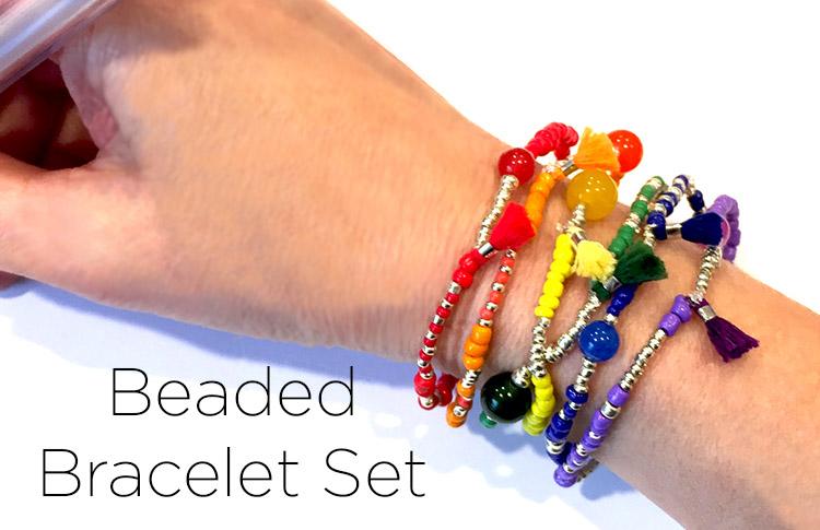 Beaded Rainbow Bracelet Set