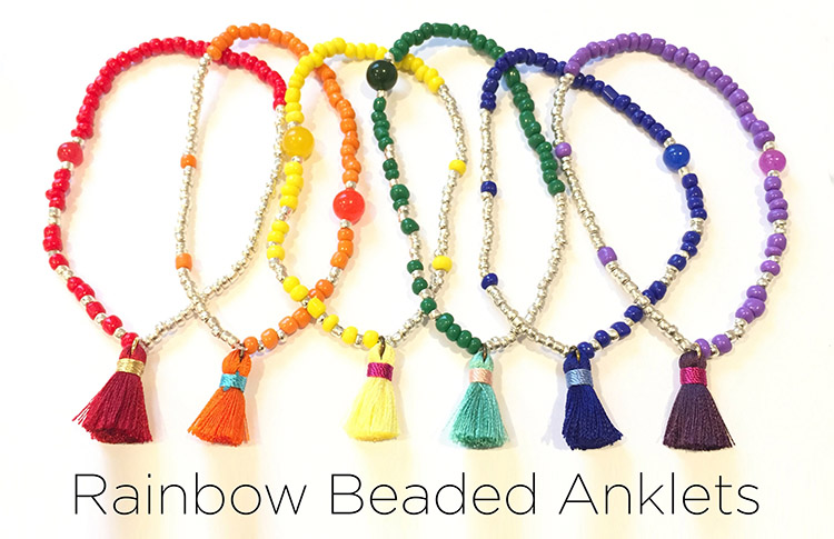 Rainbow Beaded Anklets