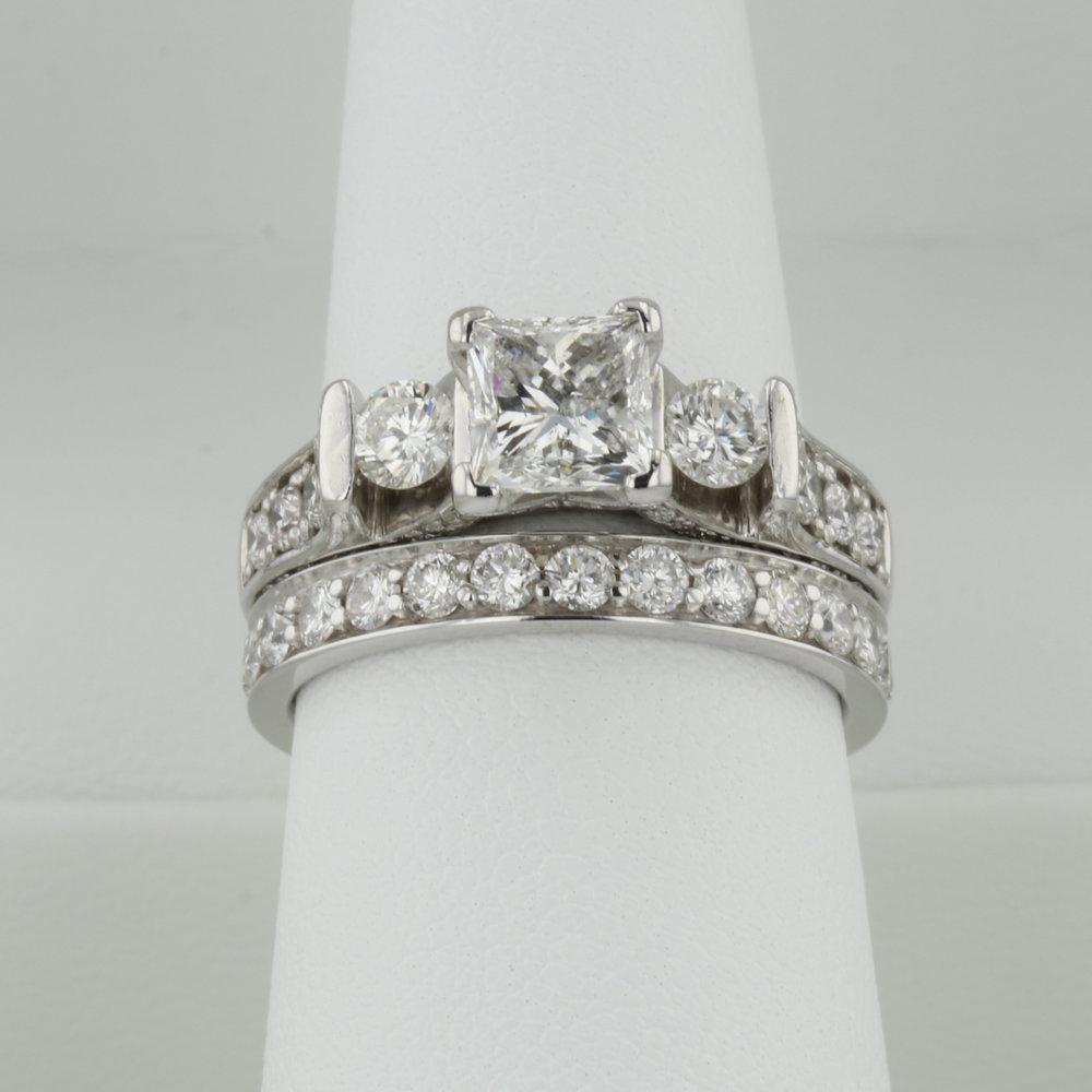Original Engagement Ring and Wedding Band after Restoration