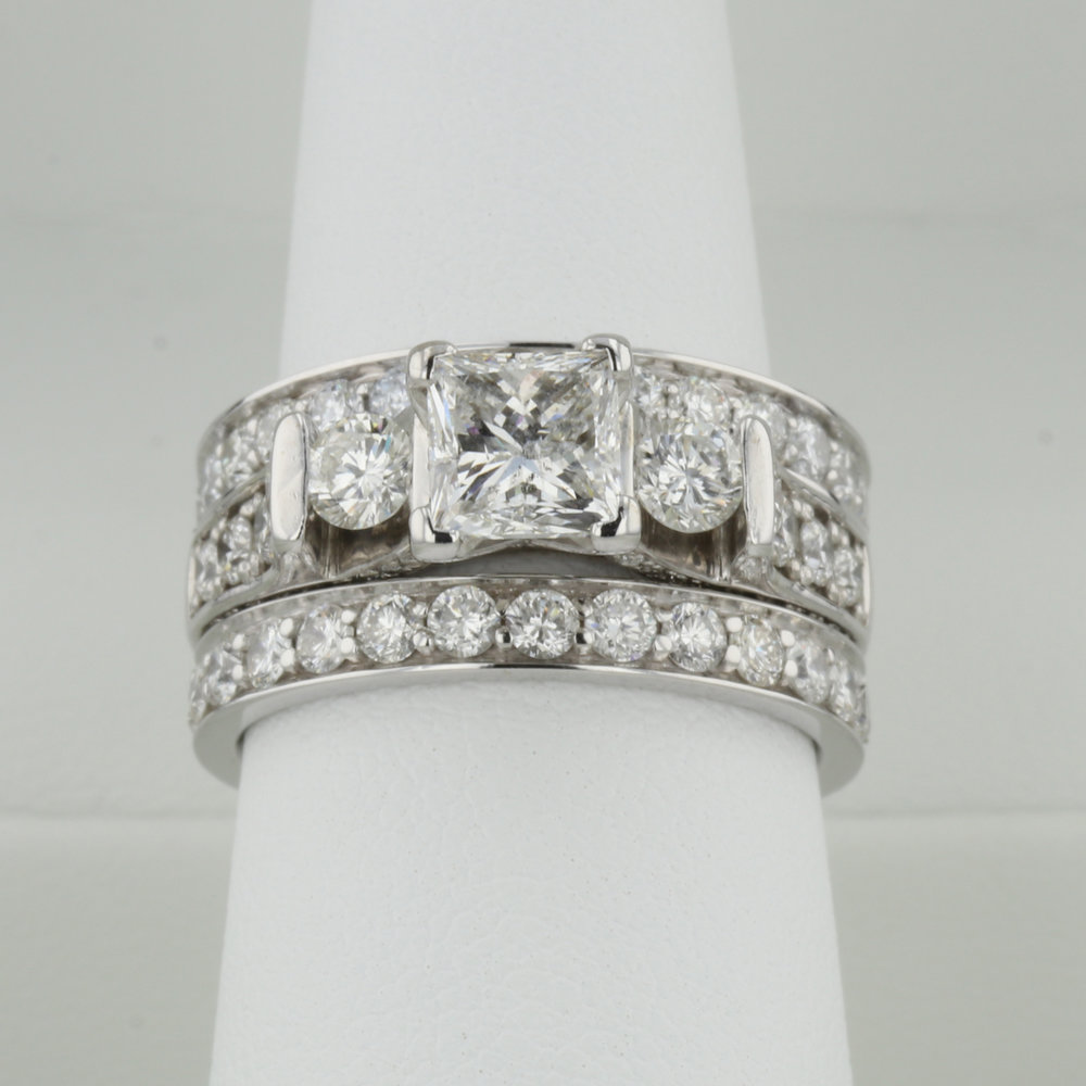 Engagement Ring with Original Wedding Band and New Anniversary Band