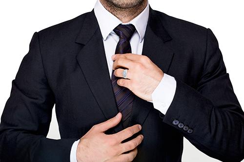 Men's Bezel Set Ring Rendered On Model