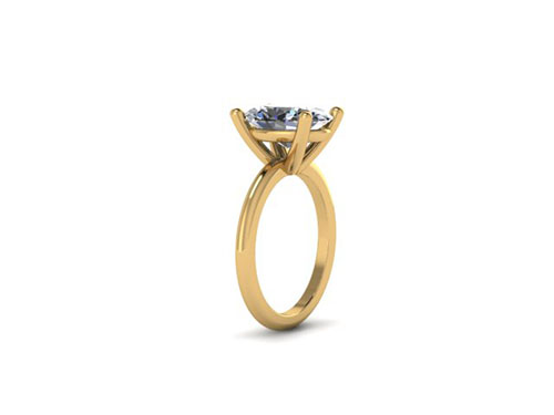Yellow Gold Oval Solitaire Rough Rendering
