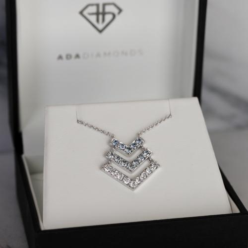 Bespoke V Necklace with Blue Diamonds