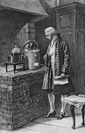 French chemist Antoine-Laurent Lavoisier (1743–94) at work in his laboratory. Hulton Archive/Getty Images