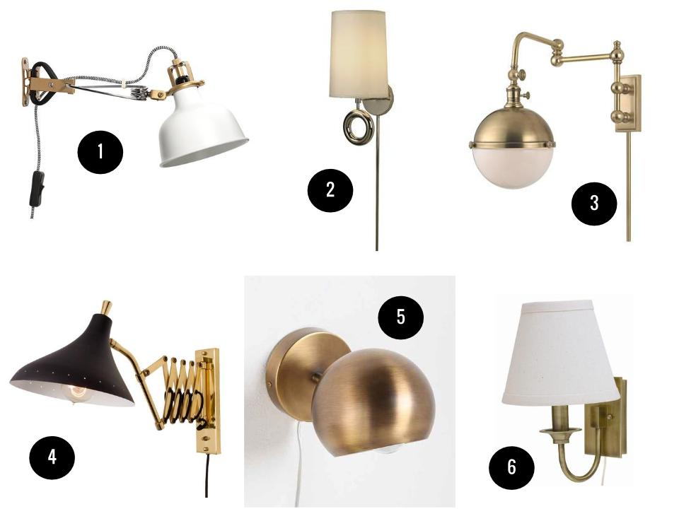 1. Ranarp wall clamp, $20, IKEA. 2. Trend Lighting Journey wall sconce, $109, Wayfair. 3. Hudson Valley Lighting Stanley 1-light wall sconce, $549, Wayfair. 4. Lynwood sconce, $250, Rejuvenation. 5. Eyeball sconce, $34, Urban Outfitters. 6. House of Troy Greensboro pin-up wall lamp, $99, Wayfair.