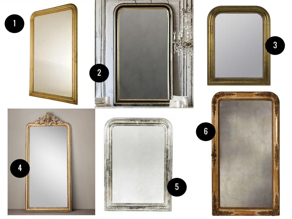 "1. Antique gilt mirror, $3,995,  Jayson Home . 2. Eloquence Louis Phillipe mirror in worn black, $2,645,  Layla Grace . 3. Cooper Classics Sepik mirror, $298,  Wayfair . 4. Louis Philippe 116"" Gilt Mirror, $1,595,  Restoration Hardware . 5. Silver Louis Philippe mirror, $2,500,  Postcard from Paris . 6. French wall mirror, $2,175,  Chairish ."