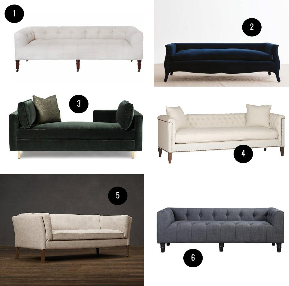 1. John Derian Field bench with back by Cisco Brothers, $4,125, Lekker Home. 2. Talisman bespoke French low-back sofa, $10,957, 1stdibs. 3. Hunter Lounge, from $2,500, Mitchell Gold + Bob Williams. 4. Thatcher sofa by Gabby Home, $2,747, Candelabra. 5. Sorenson 5' upholstered sofa, from $1,495, Restoration Hardware. 6. Nathan sofa by Pangea Home, $940, AllModern.