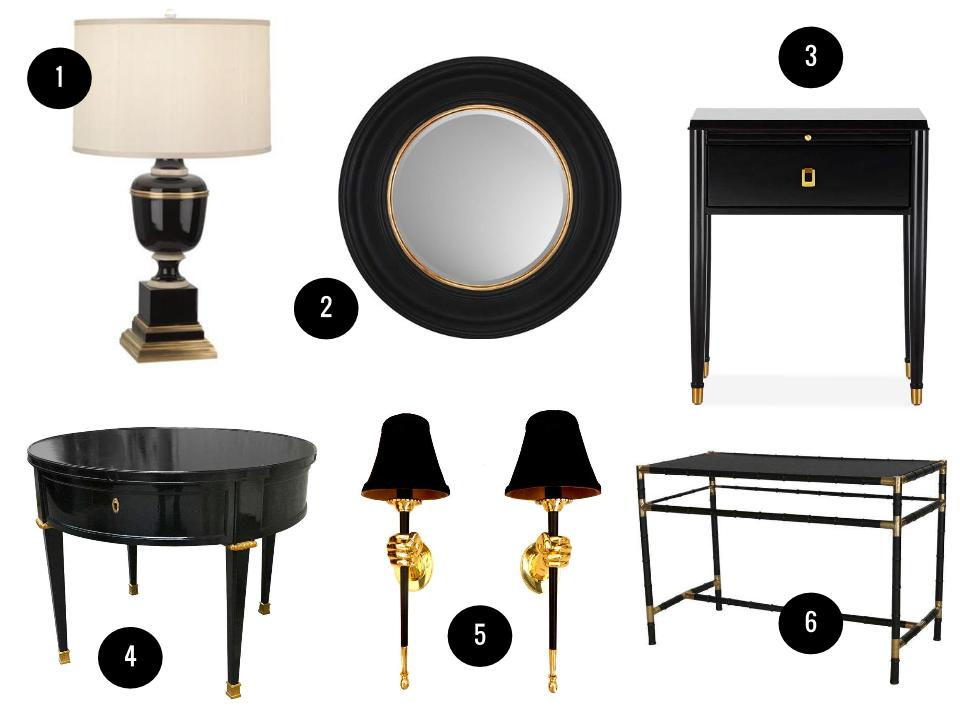 1. Mary McDonald Annika table lamp, $429, Wayfair. 2. Paragon round wall mirror, $220, Wayfair. 3. Lacourte ebony side table, $895, Williams-Sonoma Home. 4. Maison Jansen black lacquer table, price on request, 1stdibs. 5. Pair of Maison Jansen sconces, $3,950, 1stdibs. 6. Billy Haines faux bamboo table, $3,240, Chairish.