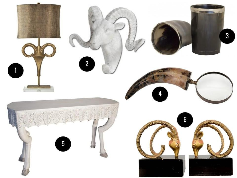 1. Nairobi table lamp, $400, Wayfair. 2. Dugaleon wall hook, $54, Wayfair. 3. Tyrol horn cups, $22 each, Jayson Home. 4. Horn magnifying glass, $29, Joss & Main. 5. Noir Furniture Pegas console table,  $1,332, Zinc Door. 6. Pair of ram's head bookends, $475, 1stdibs.