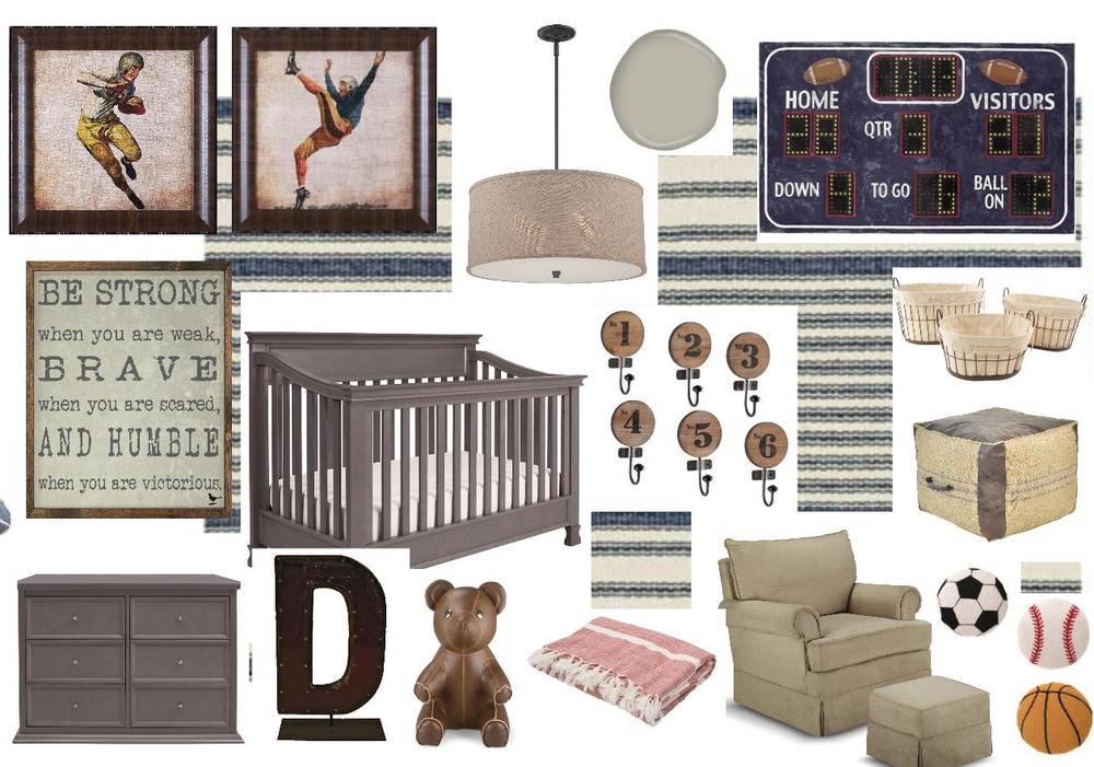 This mood board, which I created for reality-star and country singer Jessie James Decker's nursery, started with the framed vintage-sports prints. See the resulting room here on People.com.