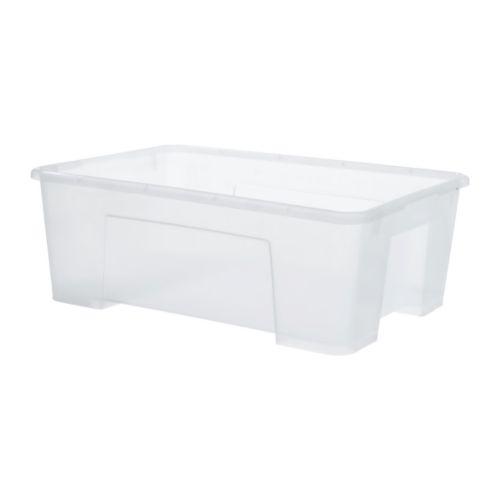 SAMLA box, $2.49 each, IKEA.