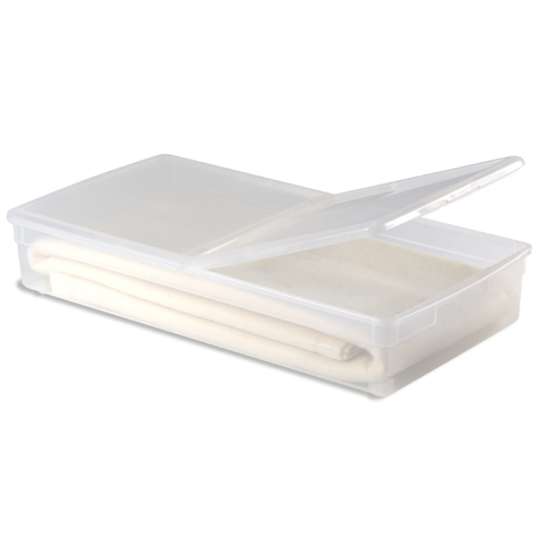 Long underbed box with wheels, $23, Container Store.