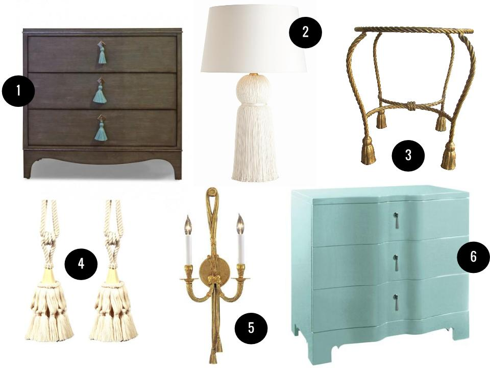 1. Easton Chest, $3,575, Oomph. 2. Laura Kirar for Arteriors tassel lamp, $636, Candelabra. 3. Gold leaf tassel-leg table, $160, Chairish. 4. Square cute tassel tieback, $36, Wayfair. 5. Metropolitan by Minka Vintage two-light sconce, $305, Wayfair. 6. Bungalow 5 Brigitte three-drawer chest, $1,224, Layla Grace.