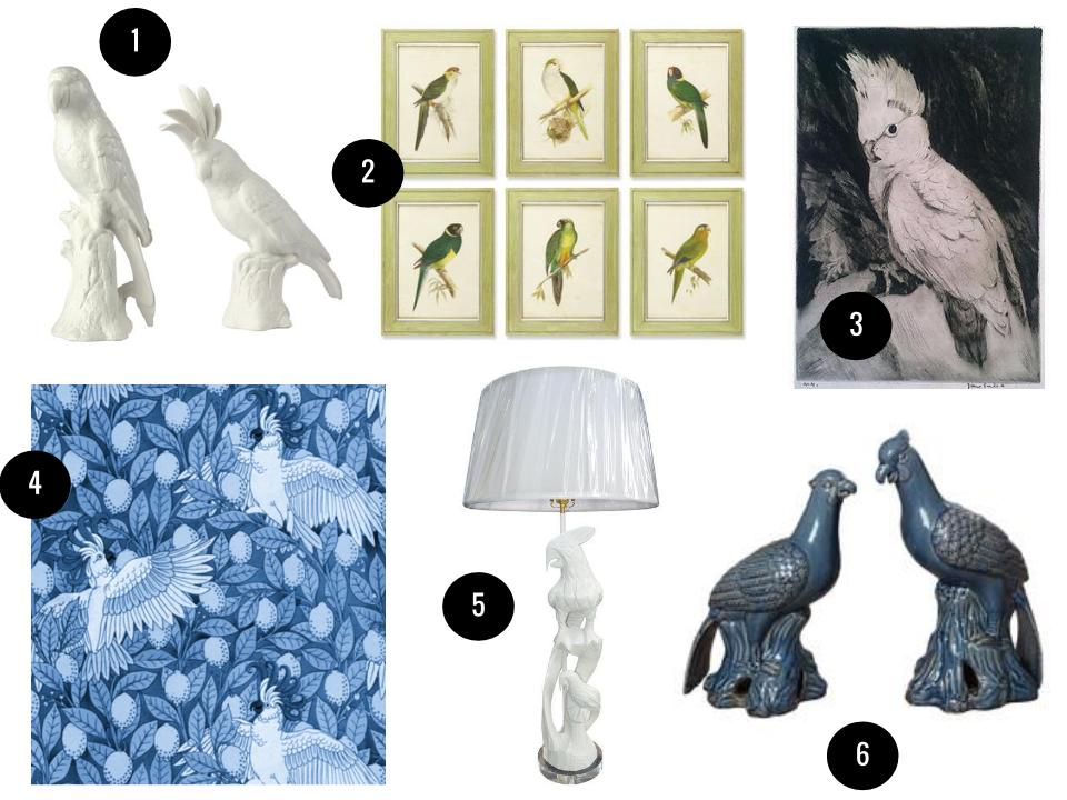 1. Porcelain parrot and cockatoo figurines, $47 each, Wayfair. 2. Napa Home and Garden six-piece framed parrot wall art, $170, Wayfair. 3. Vintage cockatoo etching, $155, Chairish. 4. Peacoquette Designs Laughing Cockatoos wallpaper, $60 per standard roll, Spoonflower. 5. Vintage white hand-carved wood parrot lamp, $280, Chairish. 6. Parrots weatherproof figurines in Storm Blue, $280 for a set of two, Wayfair.