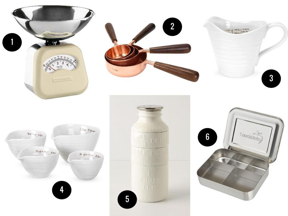 1. Typhoon Novo mechanical kitchen scale, $64, Amazon. 2. Copper measuring cups, $50, Brook Farm General Store. 3. Portmeiron Sophie Conran white measuring jug, $24, Wayfair. 4. Portmeiron Sophie Conran white measuring cups (set of 4), $19, Wayfair. 5. Milk bottle stacking measuring cups, $24, Anthropologie. 6. Cinco stainless-steel bento box, $40, LunchBots.