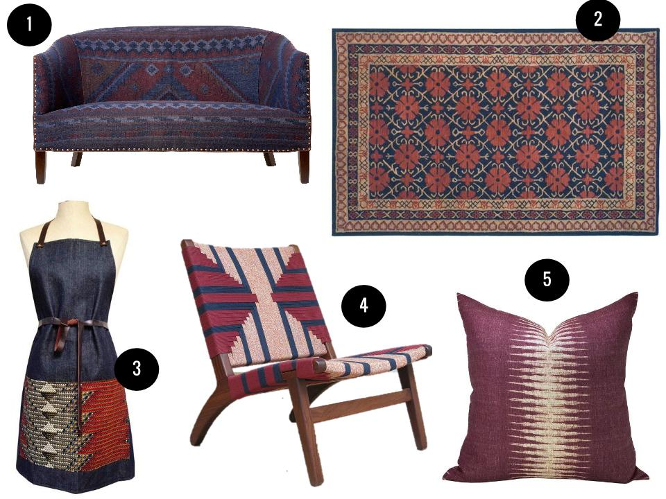 1.  Crescent loveseat in Indigo, price on request, Cisco Brothers.  2. Safavieh 5'x8'rug, $228, Wayfair.  3. Xnasozi chevron denim & leather apron, $85, Brika. 4. Momotombo lounger, $760, Masaya & Co. 5. Peter Dunham Textiles ikat pillow in Pasha, $74, Etsy.