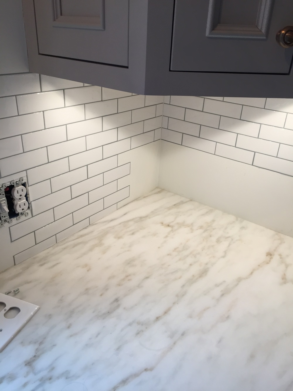 Diy peel and stick backsplash self styled tile backsplash in place dailygadgetfo Gallery
