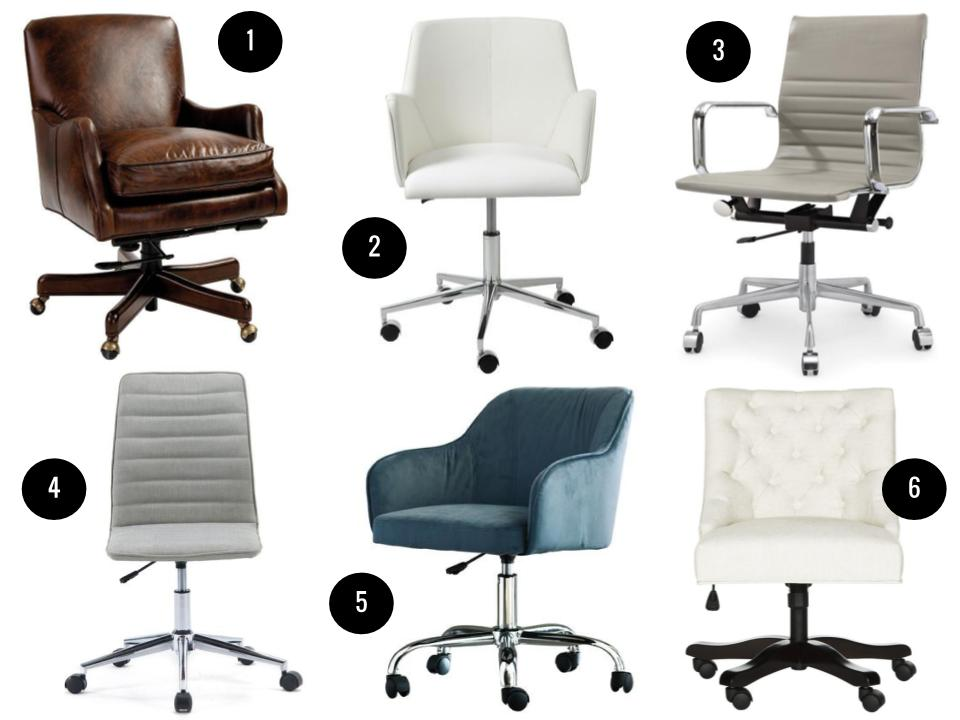1. Rhodes desk chair, $799, Ballard Designs. 2. Sunny mid-back desk chair, $298, AllModern. 3. Tory desk chair, $176, Joss & Main. 4. Prince mid-back desk chair, $110, AllModern. 5. Althea mid-back desk chair, $176, Wayfair. 6. Soho swivel desk chair, $251, Domino.