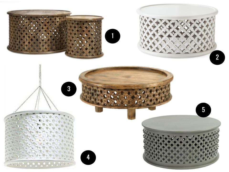 1. Abdalla carved wood coffee tables, $580 for two,  Amazon . 2. Outdoor bamileke table, $1498,  Serena & Lily . 3. Carved wood coffee table, $349,  West Elm . 4. Arteriors Jarrod large wood pendant, $1488,  Wayfair . 5. Bornova coffee table in warm gray, $499,  Ballard Designs .