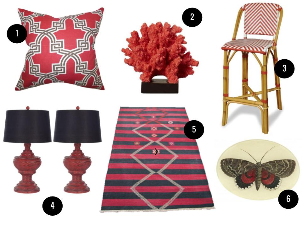 1. Letha pillow in red, $52, Joss & Main. 2. Alachua coral sculpture, $45, Wayfair. 3. Brianne rattan barstool, $204, Joss & Main. 4. Hailey table lamp, $166 for two, Joss & Main. 5. Striped tribal kilim, $220, Etsy. 6. Butterfly oval tray, $64, Jayson Home.