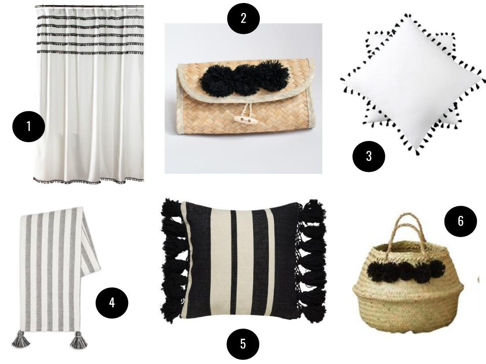 1. Aldous shower curtain, $50, Joss & Main. 2. Xinh clutch in Noir, $16, Xinh & Co. 3. 100-percent cotton Euro sham, $53 for a set of two, Wayfair. 4. Tassel throw blanket, $25, Target. 5. Kate Spade New York Tassel Stripe throw pillow, $129, Wayfair. 6. Creative Co-Op Collapsible two-piece basket set, $59, Wayfair.