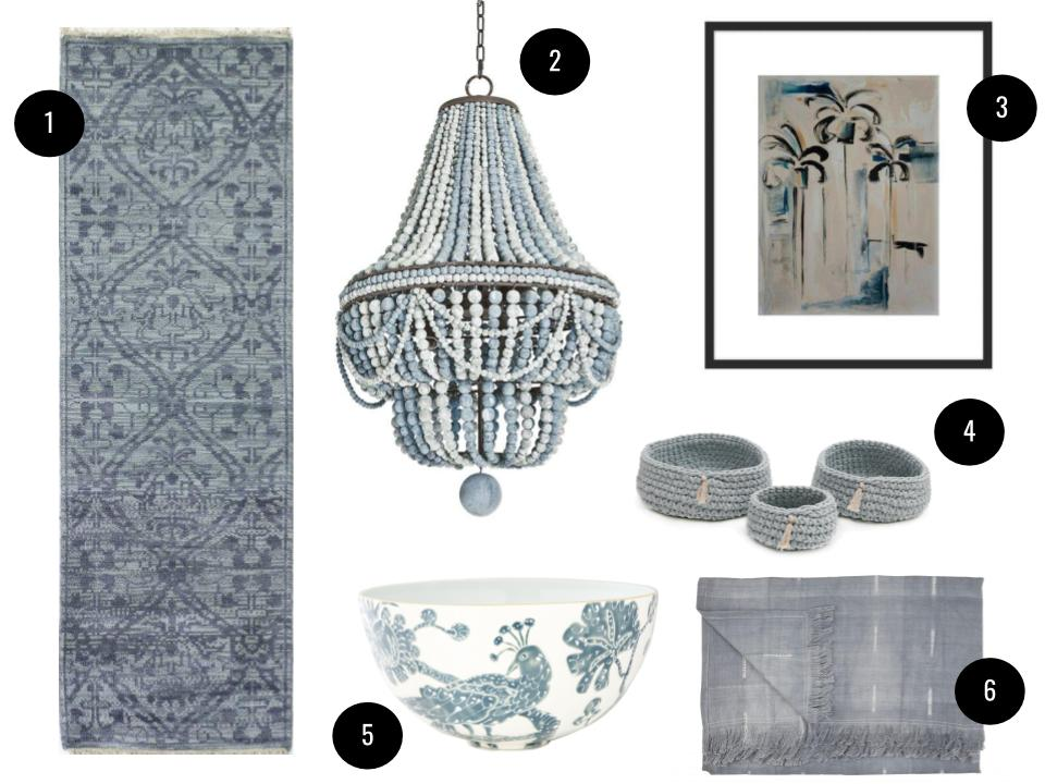 "1. Javier runner, $182,  AllModern . 2. Regina Andrew Malibu chandelier in Weathered Blue, $1,623,  Perigold . 3. Framed ""Emerging Palms"" print by Kristin Gaudio Ensley, $97,  The Maryn . 4. Pom Pom at Home Baya three-piece cotton basket set in Sky, $155,  Perigold . 5. Le Bird large bowl in Bonaparte Blue, $240,  Jill Rosenwald . 6. Gray tie-dyed fringe throw, $198,  Jayson Home ."