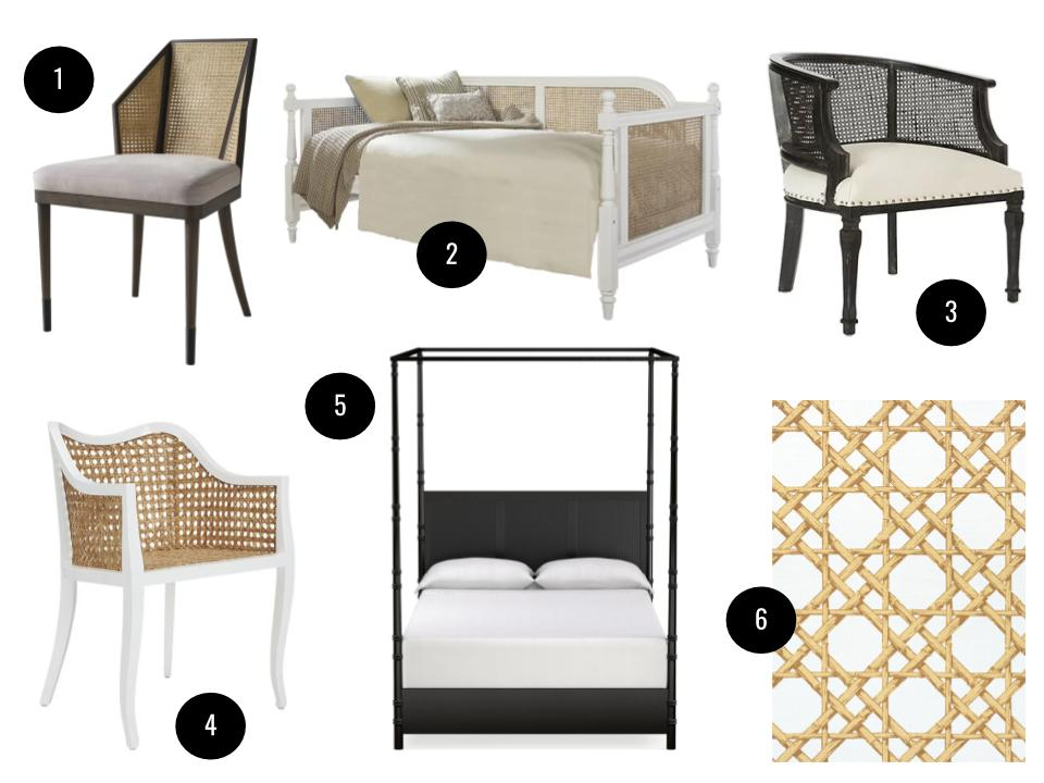1. Milling Road cane side chair in Natural Walnut, $855,  Perigold . 2. Cedeno daybed, $480,  Joss & Main .  3. Aidan Gray Mary Katherine barrel chair, $1279,  Wayfair . 4. Tayabas cane side chair, $500,  CB2 . 5. Colonial cane bed, $2295,  Williams-Sonoma Home . 6. Thibaut Cyrus Cane wallpaper in Gold,  thibautdesign.com  for retailers.