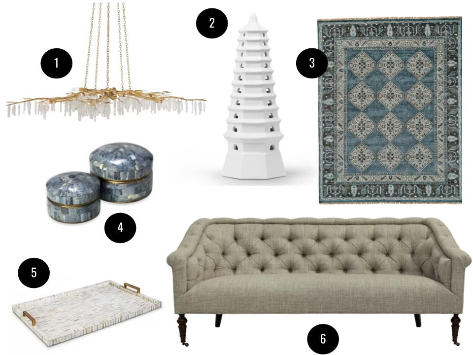 1. Aviva Stanoff for Currey & Co. Forest 10-light crystal chandelier, $8,740. 2. Bungalow 5 Heaven Tower sculpture, $367. 3. Feizy Alden hand-knotted wool rug, starting at $130. 4. Interlude Gianna bone box set, $394. 5. Regina Andrew bone and brass tray, $248. 6. C.R. Laine Desi sofa, $2750. All available at  Perigold .