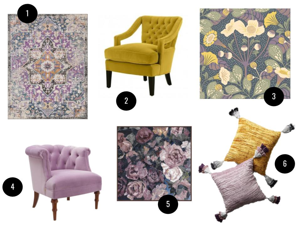 1. Fonteyne purple and teal area rug, from $27,  Joss & Main . 2. Delphine chair, $2,295,  Jayson Home . 3. Wonderland Tropisk wallpaper in Yellow/Green, $1.68/square foot,  Joss & Main . 4. Morphew barrel chair, $290,  Joss & Main . 5. 'Taupe Floral' framed print on canvas, $150,  Joss & Main . 6. Tasseled velvet pillows, $58 each,  Anthropologie .