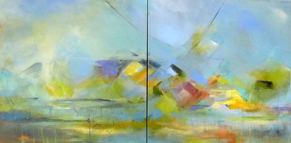 Mesa, acrylic diptych 36 x 72