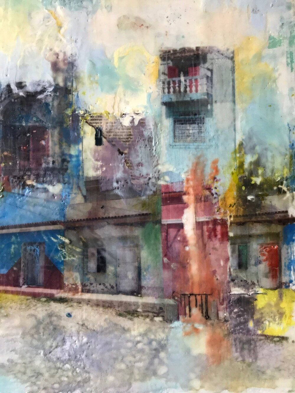 Cienfuegos, encaustic collage, 12x16""