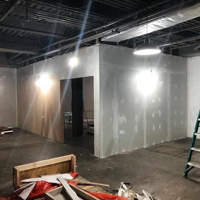 Gallery walls up and first round of prep complete. #22teeth #designbuild @coeurnoirspecialtyprinters @openseadesignco