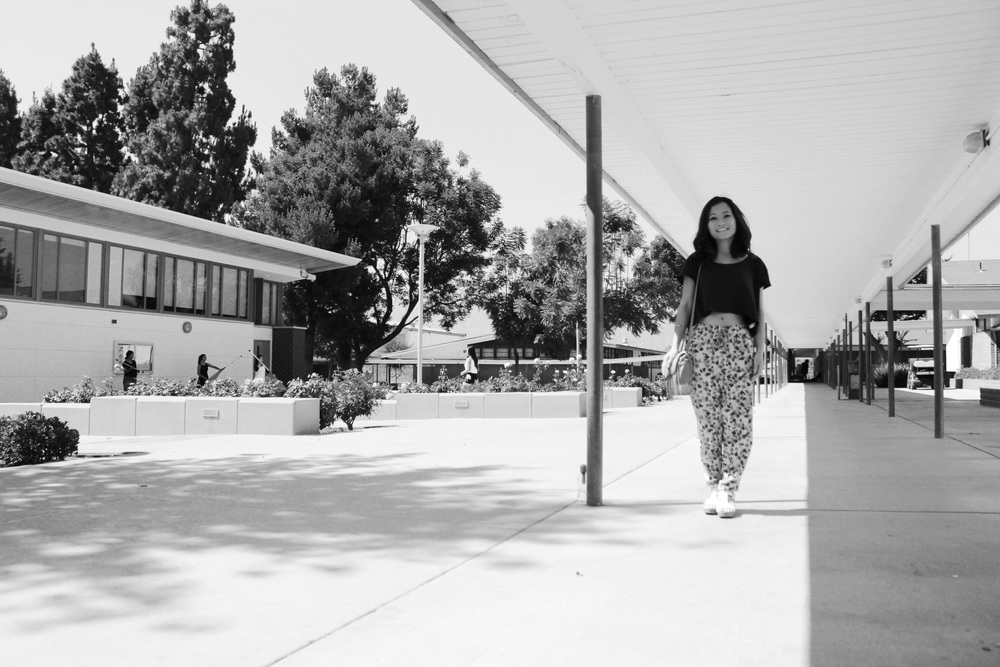 Frances Huynh in the courtyard of Arroyo High School in El Monte, CA.
