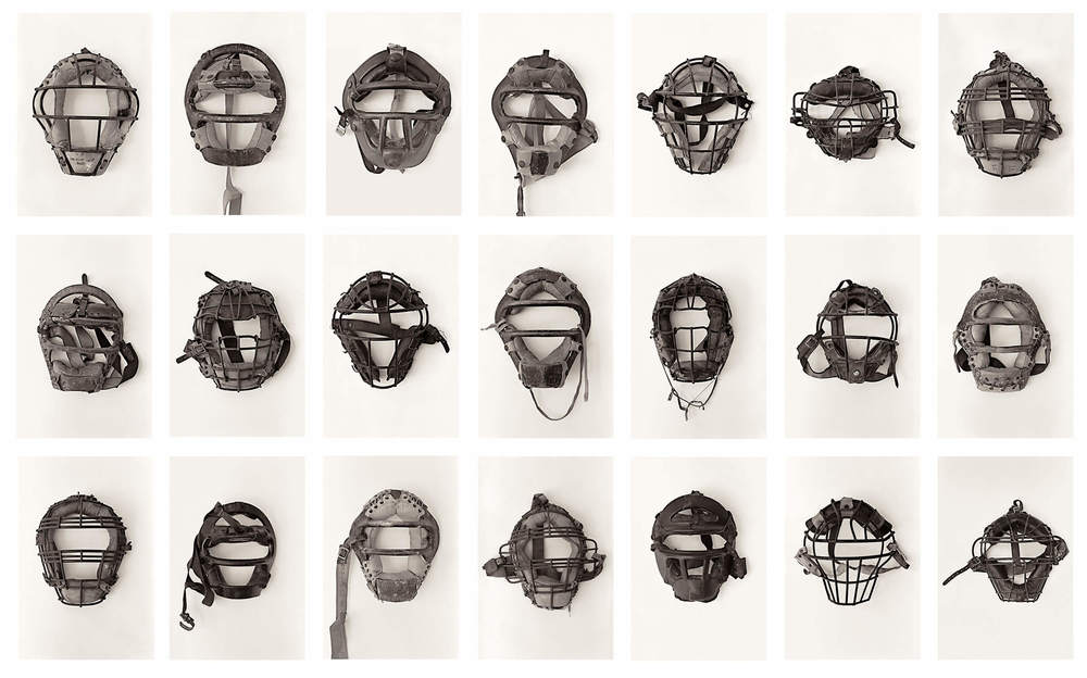 © Lane Barden 2017, 21 Catchers Masks, Large Grid. (from 23 Catcher's Masks, ©Lane Barden 2017, Collection of the Los Angeles County Museum of Art)