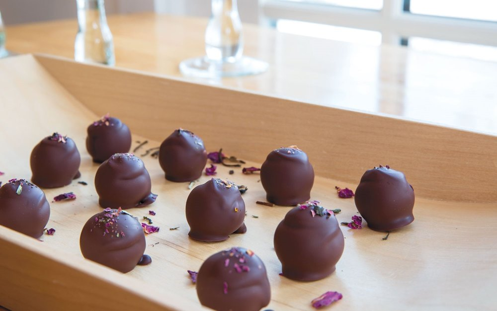 Photo 2: Truffles in nearly a dozen varieties are infused with different delicate tea blends, like La Vie en Rose with its subtle expression of summer roses finishing with a hint of mint