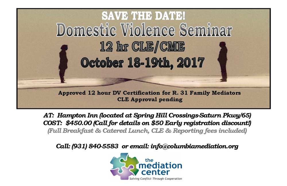 Domestic Violence 12 Hr Mediators Certification Cle The