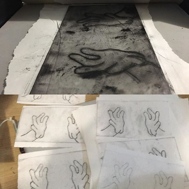 I've been printing up a storm recently! This is a (nearly complete) edition for a print exchange - stay tuned for the completed print! . . . #printmaking#etching#art#edition#paperartist
