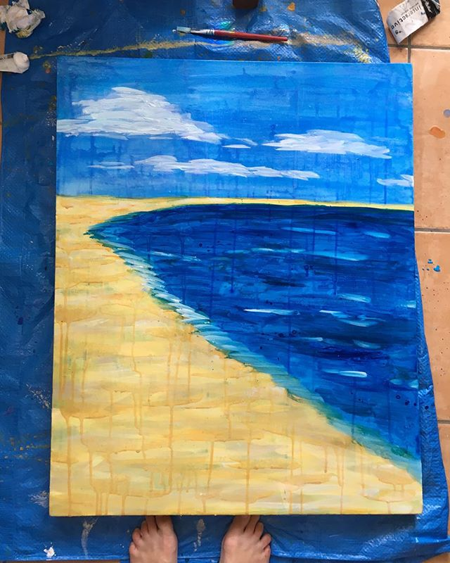 A new work in progress... . . . . #artistatwork #artistsoninstagram #australianartist#landscape#contemporary#impressionism#seascape#beach#canvasart