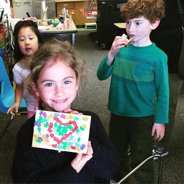 Treasure box happiness.  #mosaic #kids #kidsart #treasurebox #doodlebug #heart