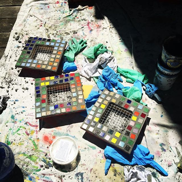 Grouting our succulent gardens. #doodlebug #camp #kids#mosaic #art #sananselmo #marin