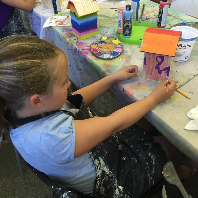 Birdhouse at doodlebug camp. #doodlebug #kid art #birdhouse #paintingclass
